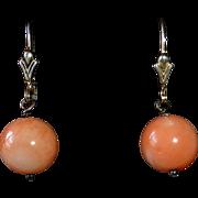 Sterling & Natural Salmon Coral Bead Drop Earrings