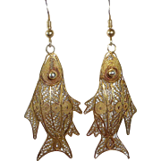 Gold Washed Sterling Filigree Fish Pierced Earrings
