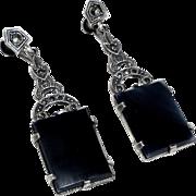 Art Deco Sterling Onyx Marcasite Long Drop Earrings