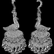 Sterling Filigree Exotic Bird Peacock Earrings Triple Tiered Tail