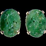 14k YG Carved Jade Pierced Earrings