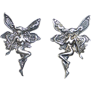 Sterling Silver Art Nouveau Revival Winged Nude Fairy Post Earrings