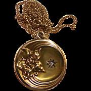Antique 10k Repousse Floral & Diamond Locket w Chain