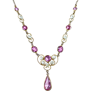Edwardian Gold Filled Pink Jewel & Fresh Water Pearl Necklace
