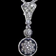 Antique Edwardian Platinum Diamond Enamel Pendant 14k Chain