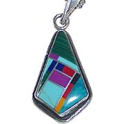 Native American Sterling Inlay Stone Pendant Necklace