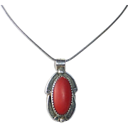 Native American Sterling Pendant Necklace w Coral