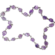 Natural Amethyst Quartz Polished Nuggets Necklace