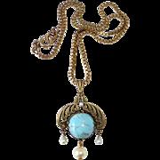 Art Nouveau Brass Pendant Necklace Faux Turquoise & Pearls