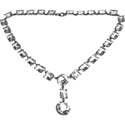 Art Deco Sparkling Faceted Crystal Glass Drop Necklace