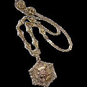 Brass Filigree Pendant Necklace
