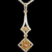 Art Deco 14k Mine Cut Diamond Lavaliere Necklace
