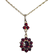 Gold Wash Sterling Bohemian Garnet Pendant Drop Necklace