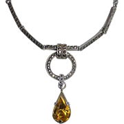 Art Deco Sterling Necklace Marcasite & Citrine Teardrop