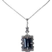 Art Deco Sterling Marcasite Onyx Pendant Necklace