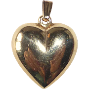 14k Yellow Gold Puffy Heart Pendant Charm