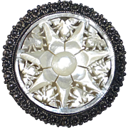 Star of Bethlehem 950 Sterling & Carved Mother of Pearl Pendant/Pin