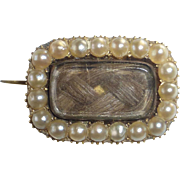 Georgian 14k Lace Mourning Pin Woven Hair & Seed Pearls 1822
