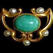 14k Art Nouveau Amazonite & Seed Pearl Watch Pin