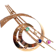 14k Rose Gold Comet Pin w Emerald Ruby Sapphire Pearl
