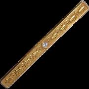 14k Antique WAB Embossed Bar Pin w Diamond