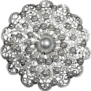 Antique 19C Cannetille Filigree 800 Silver Pin/Pendant