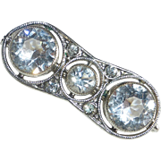 Art Deco Czech Pin w Faceted Crystals