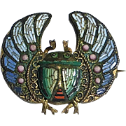 Antique Egyptian Revival Micro Mosaic Winged Scarab Pin