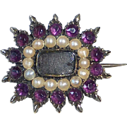 Antique 14k Rose Gold Seed Pearls Georgian Hair Mourning 'Lace' Pin