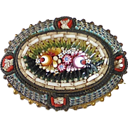 Antique Victorian Floral Micro Mosaic Pin