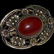 Symmetalic Sterling & GF Carnelian Pin