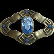 Antique Victorian Blue Jewel Sash Ornament Brooch