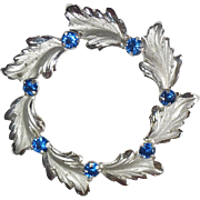 Sterling Leaf Circle Pin Blue Rhinestones