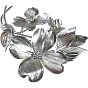 Sterling HSB Sculpted Dogwood Blossoms Pin