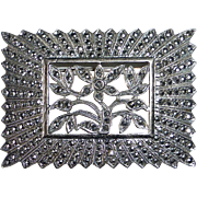 Sparkling Art Deco Sterling Marcasite Pin