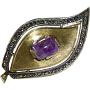 Sterling Marcasite Vermeil & Amethyst Stylized Leaf Pin