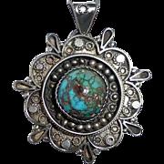 Yemenite Sterling Pendant/Pin Turquoise