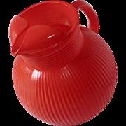 Bright Orange Pyro Glaze Ribbed Glass Bulbous Ball Tilt Pitcher
