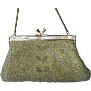 Soft Gold Beaded Purse Mother of Pearl Frame