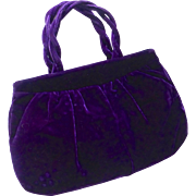 Royal Purple Velvet Vintage Purse c1940s