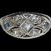 Art Deco 10k Diamond & Sapphire Pinky Ring