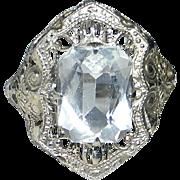 Art Deco 10k White Gold Filigree Ring Clear Jewel