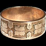 Antique Victorian 12k Rose Gold Patterned Band Ring