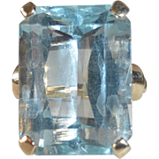 14k Art Deco XL Natural Aquamarine Dinner Ring