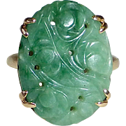 14k Yellow Gold Carved Jade Ring