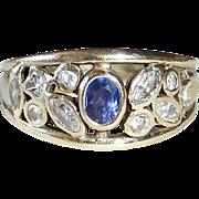 14k White Gold Diamond & Amethyst Band Ring