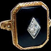 Art Deco 14k Black Onyx & Diamond Ring