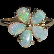 14k Yellow Gold Opal Flower Ring