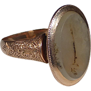 SOLD 14k Victorian Rose Gold Moss Agate Ring