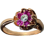 14k Rose Gold Flower Ring Rubies & Diamond